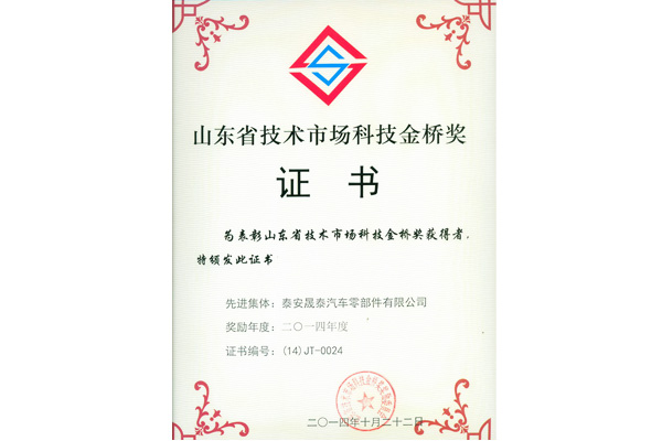 Shandong Province Technology Market Jinqiao Award Advanced Collective